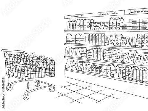 Obraz na płótnie Grocery store shop interior black white graphic sketch illustration vector
