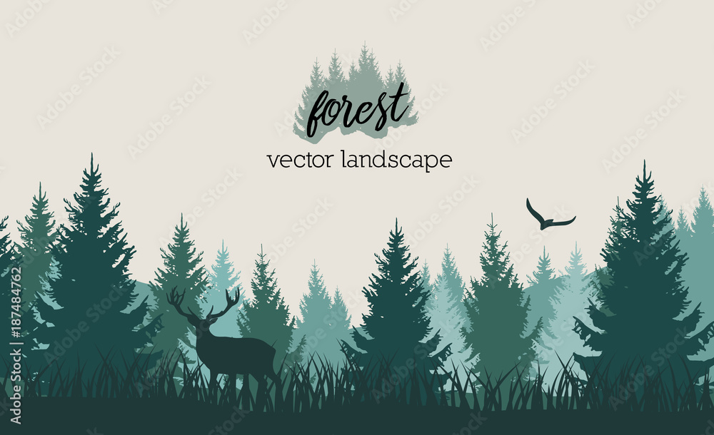 Fototapeta Vector vintage forest landscape with blue and grees silhouettes of trees and wild animals