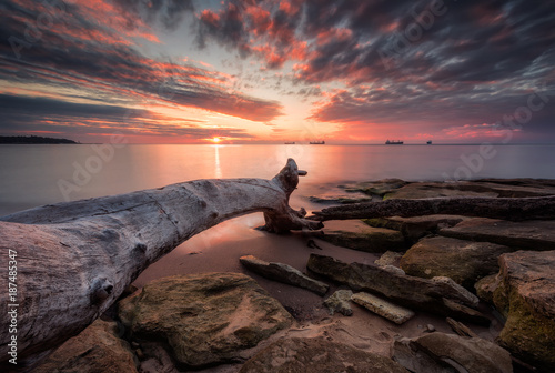 Fotobehang Diepbruine Sea sunrise / Magnificent sunrise view at the Black sea coast
