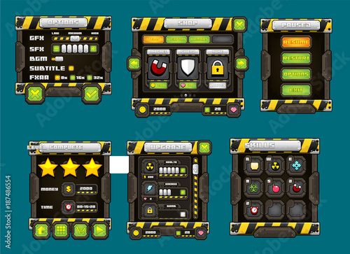 Metal Game GUI Pack - Buy this stock vector and explore