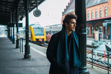 Young Stylish Man On Station