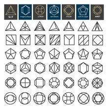 Linear Geometric Shapes. Thin Line Minimal Line Shape Set Like Hexagon And Triangle, Square And Circle Vector Illustration