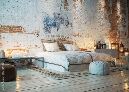 Bett In Loft Wohnung Mit Ziegelwand Bedroom In Vintage Brick Loft