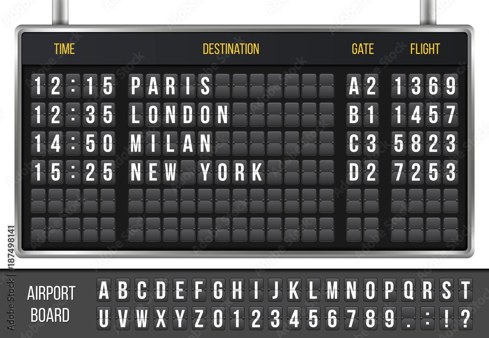 Fototapeta Creative vector illustration of realistic flip scoreboard, arrival airport board with alphabet, numbers isolated on transparent background. Art design. Analog timetable font. Concept graphic element