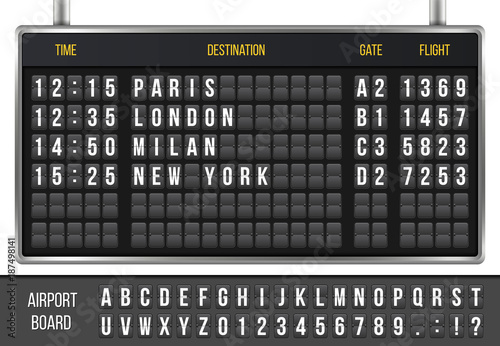 Fotografia Creative vector illustration of realistic flip scoreboard, arrival airport board with alphabet, numbers isolated on transparent background