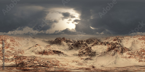 Photo sur Toile Desert de sable panorama of desert at sand storm. made with the one 360 degree lense camera without any seams. ready for virtual reality