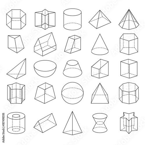 Abstract geometric shapes  Vector 3d crystals from icons