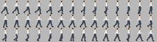 Business Man Walking Animation Sprite Sheets, Animation, Loop Animation, Walk Cycle, Silhouette