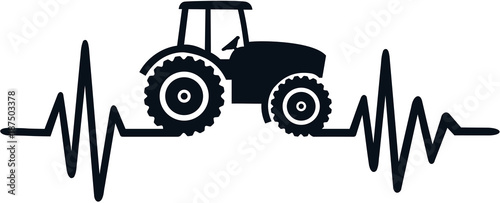 Farmer heartbeat line with tractor
