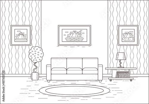 Living Room Interior Linear Room In Flat Design Vector