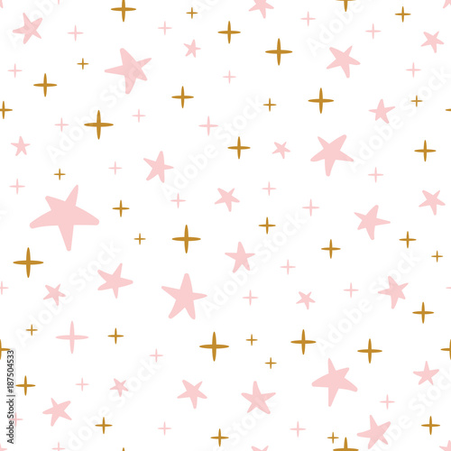 Hand Drawn Seamless Pattern Decoreted Gold Pink Stars For Christmas