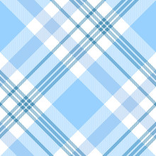 Plaid Check Pattern In Pastel Blue And White. Seamless Fabric Texture For Digital Textile Printing. Vector Graphic.