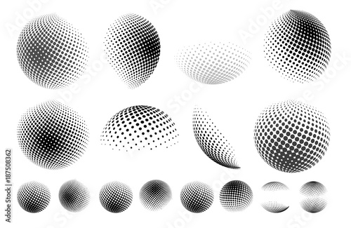 Fotografía  Set of abstract globe dotted sphere, 3d halftone dot effect
