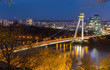 Night view on UFO Bridge in slovakian city Bratislava