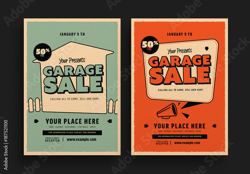 Retro Garage Sale Flyer Layouts. Buy this stock template and explore ...