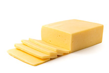 Cheese Cut Into Slices On A Wh...