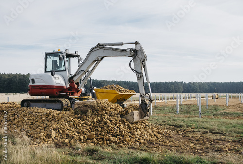 Digger and dumper on a construction site