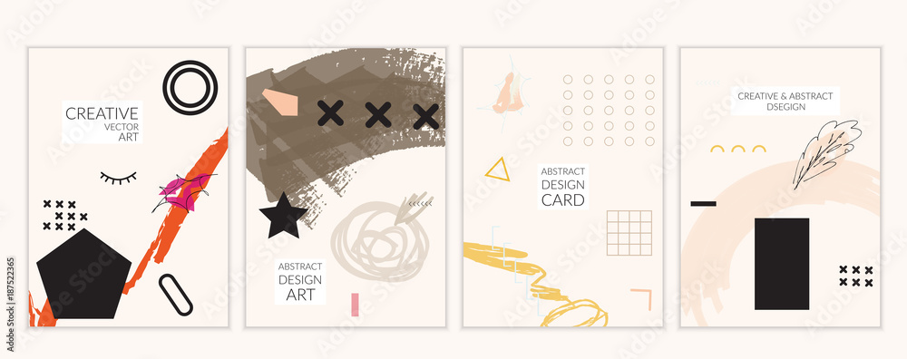 Fototapeta Card templates in Memphis style with abstract hand drawn doodles