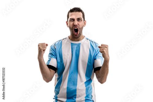 Cuadros en Lienzo Argentina fan celebrating on white background