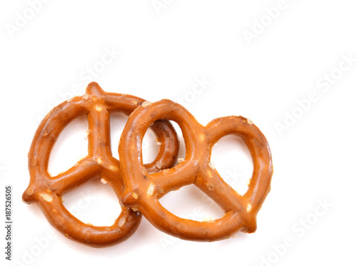 Two Pretzels Isolated on a White Background Wallpaper Mural