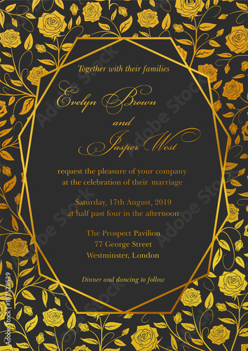 Wedding Invitation Roses Floral Invite Card Design With Geometrical Art Lines Golden Foil Border Frame Ornate Gold Flowers On A Black Background Buy This Stock Vector And Explore Similar Vectors At