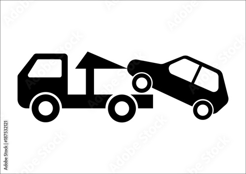 Car Towing Truck Vector Illustration on white background Canvas Print