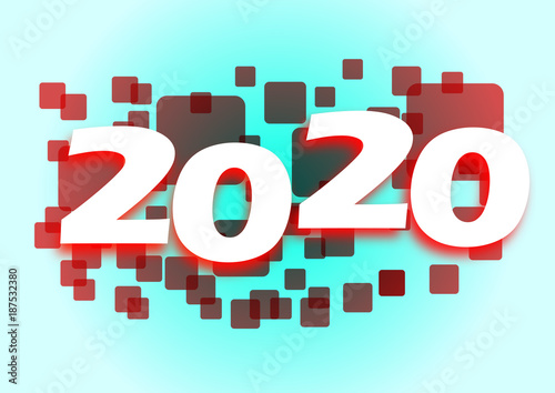 Poster  2020 red squares banner