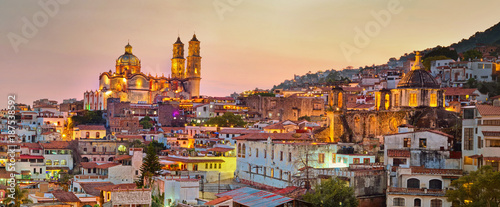Canvas Prints American Famous Place Panorama of Taxco city at sunset, Mexico