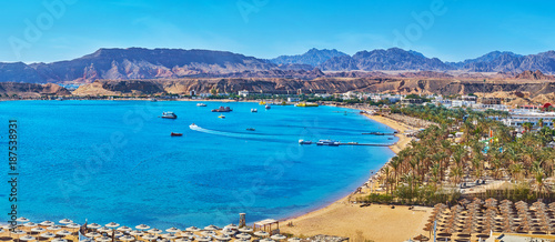 Photo Stands Egypt Panorama of El Maya bay beaches, Sharm El Sheikh, Egypt