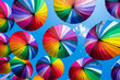 canvas print picture - Colorful umbrellas background. The sky of colorful umbrellas