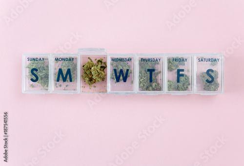 1 week pill box filled with marijuana for microdosing - Buy
