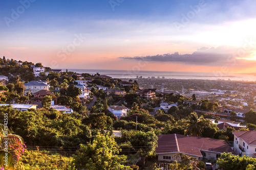 Kingston city hills in Jamaica sunset Tableau sur Toile