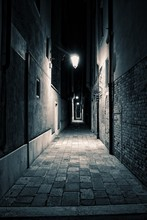 An Empty Alley Somewhere In The City Of Venice, Italy.