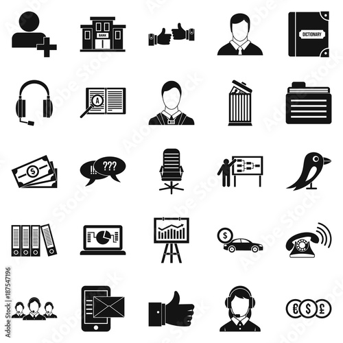 Deliberation icons set, simple style Poster
