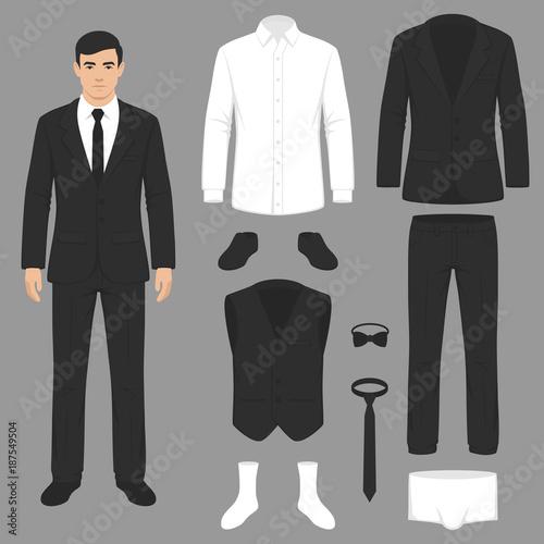 vector illustration of a men fashion, suit uniform, jacket, pants, shirt and Fototapet