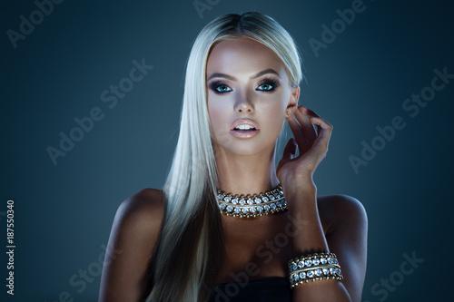 Jewelry on dark blue
