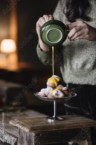 Female preparing sweet dessert