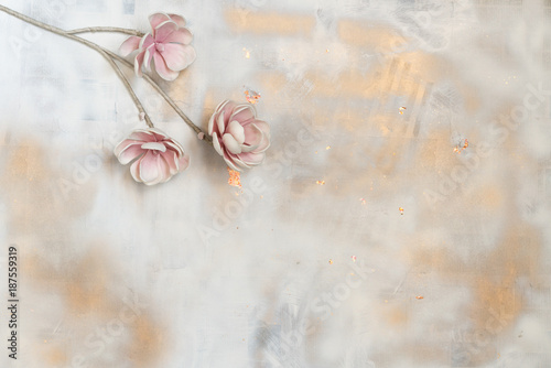 Painted Pastel Flowers concept in a colorful background