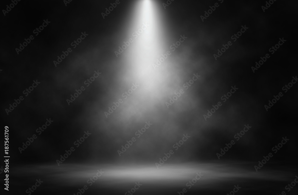 Fototapeta Stage white smoke spotlight background.