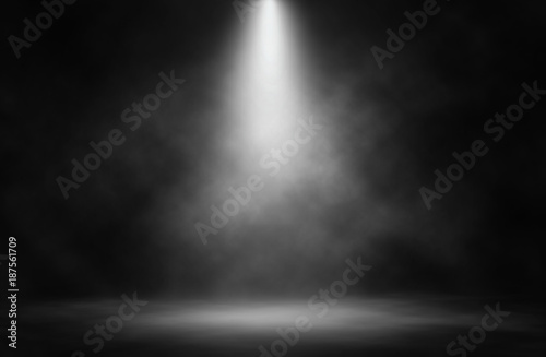 Fotobehang Licht, schaduw Stage white smoke spotlight background.