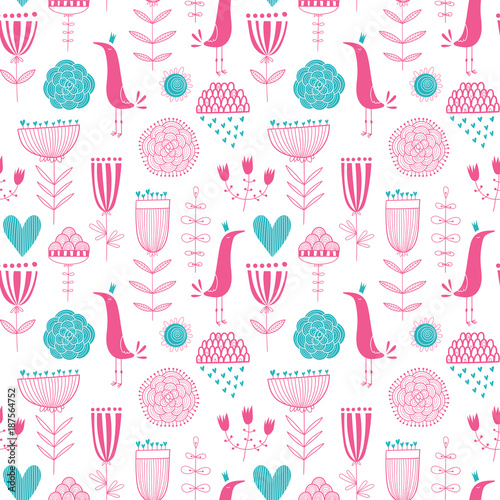Seamless romantic floral vector pattern withbirds and hearts