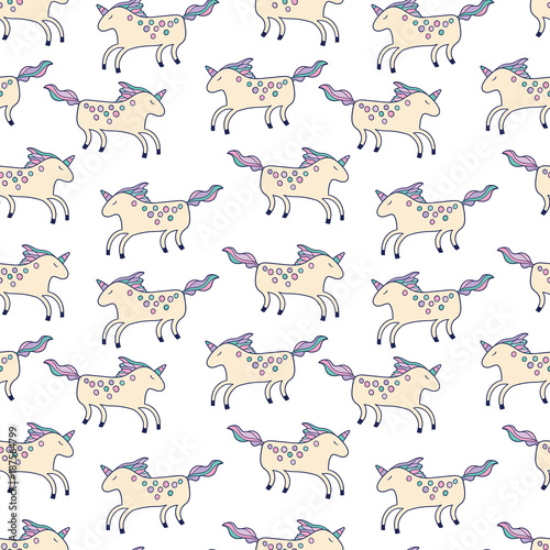 Happy unicorns seamless pattern