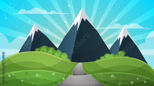 Staande foto Turkoois Cartoon landscape - abstract illustration. Sun, ray, glare, hill, cloud, mountain.