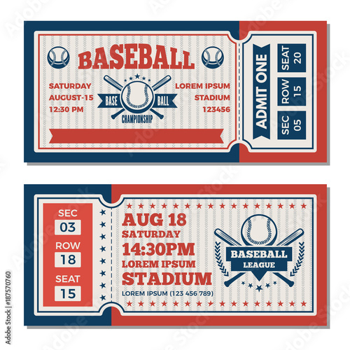 Tickets design template at baseball tournament Canvas Print