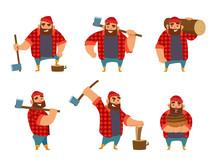 Lumberjack In Different Poses ...