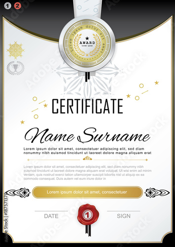 White Official Certificate With Badge And Wafer Vector Template