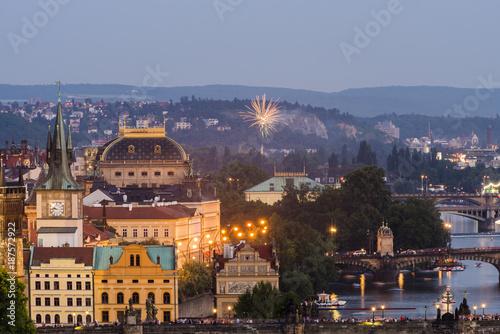 Charles Bridge and Vltava River at Prague, Czech Republic. Poster