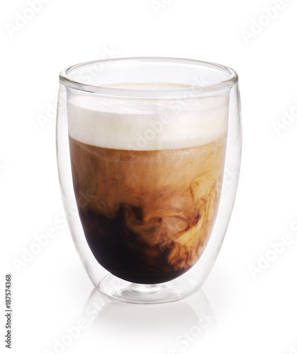 Hot coffee with milk in a glass with double walls isolated on white background Poster Mural XXL