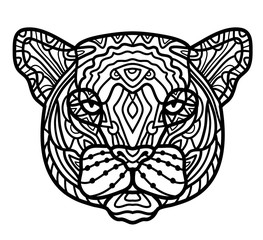 Panther head zentangle stylized, vector, illustration, pattern, freehand pencil, hand drawn.