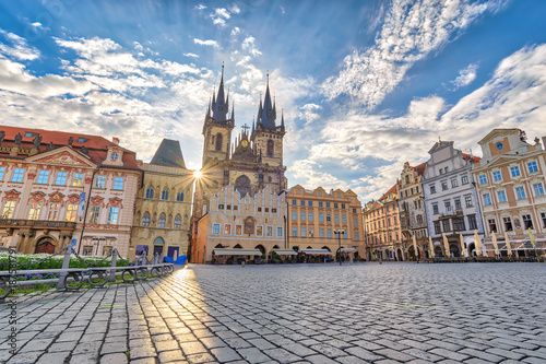 Fotobehang Praag Prague sunrise city skyline at Prague old town square, Prague, Czechia